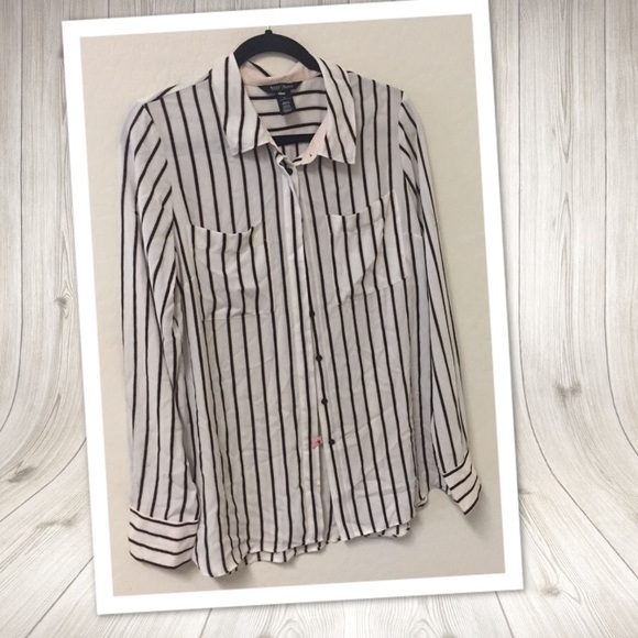White House Black Market Tops - WHBM Striped pink black striped chiffon blouse 12